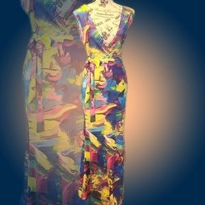 Multicolor Vneck Maxi Dress with Matching Belt